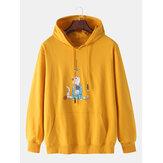コットンメンズ漫画猫プリント長袖かわいいドロップショルダーパーカー