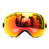Óculos de esqui de motocicleta Anti-nevoeiro Proteção UV Dual-Lens Off-Road Snowboard Black Frame