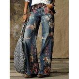 Dames Vintage bloemenprint Casual losse stijlvolle jeans met wijde pijpen