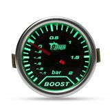 Bague en chrome 52 mm verte LED BAR Tuyau à vide pour jauge de pression Turbo