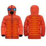 Kids Electric Heated Jacket USB Fast Heating Hooded Coat Skiing Winter Warm Boy