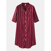 Women Silk Vertical Stripes Chest Pocket Long Sleeve Shirt Nightdress
