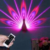 Lâmpada de projeção de forma de pavão Controle Remoto LED
