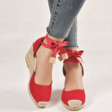 Mujer Casual Round Toe Wedge Heel Lace Up Sandalias