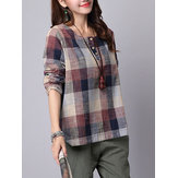 S-5XL Casual Mujer Plaid Prinred Button Shirts