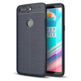 Litchi Leather Shockproof Soft TPU&Silicone Back Cover For OnePlus 5T