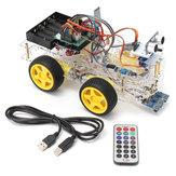 4WD Programlanabilir Akıllı Robot Araba Başlangıç Kit Acemi DIY için Uzakdan Kumanda ile