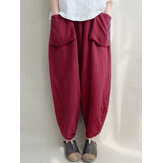 Women High Elastic Waist Pockets Solid Color Pants