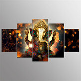 5 Pcs Canvas Ganesha Painting Indian Style Framed/Frameless Poster Printing Wall Art Decor Picture for Home Office Decoration