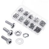 Suleve™ M2SSH1 600Pcs M2 304 Stainless Steel Hex Socket CapButtonFlat Head Screw Washer Nut Kit