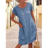 Frauen einfarbig lässig O-Ausschnitt Kurzarm Mini Kleid mit Taschen