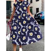 Women Allover Flowers Print Stand Collar Big Swing Short Sleeve Casual Midi Dress
