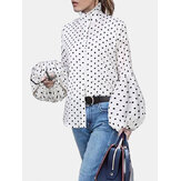 Chic Polka Dots Print Turtleneck Puff Sleeve Causal Loose Shirts Blouse For Women