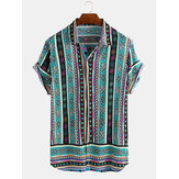 Mens Ethnic Style Pattern Gedruckte Sommer Loose Casual Shirts