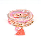 Bohemian Tassel Pendant Multilayer Colorful Bead Bracelet Jewelry for Women