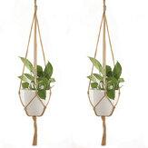 Appendiabiti per macrame da 2 pezzi per piante e fiori per terrazze rotonde e quadrate da esterno per esterno