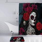Ensemble de rideau de bain de douche en polyester imperméable imprimé en 3D de femme Halloween pour les vacances et les gadgets de fête