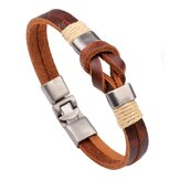 European Style Retro Vintage Leather Men Bracelet Buckle Double layers Chain