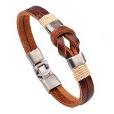 Europäischen Stil Retro Vintage Leder Herren Armband Schnalle Doppelschichten Kette