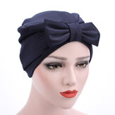 Vrouwen Satijn Bowknot Beanie Hoed Solid Elegant Outdoor Casual Turban Cap