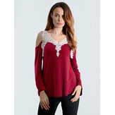 Sexy Lace Crochet Off Shoulder Long Sleeve V-Neck Women Blouses