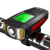 Preto BIKIGHT 3-em-1 350LM COB Bike Light + USB Horn Lamp + Speed Meter LCD Tela 5 modos à prova de água para bicicleta farol com corneta