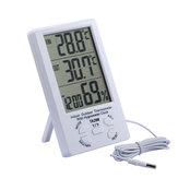 Groot scherm Thermometer Hygrometer Binnen Buiten Digitale Display Temperatuurdetector met dubbele temperatuur