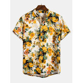 Mens Summer Floral Printed Turn Down Collar Casual Shirts