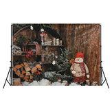 7x5FT natal boneco de neve parede de madeira ao ar livre fotografia cenário estúdio prop fundo