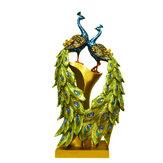 20×9×37センチ孔雀樹脂の装飾家の装飾動物像デスクトップリビングルーム