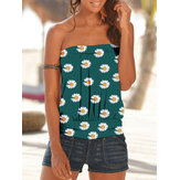 Small Daisies Print Strapless Sleeveless Holiday Beach Tube Tank Top