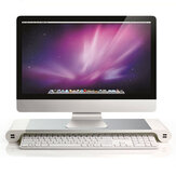 Aluminium Desktop Monitor Stand Non-slip Notebook Laptop Riser dengan 4-port USB charger untuk iMac MacBook Pro Air