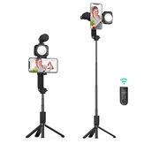 BlitzWolf® BW-BS15 Bluetooth Tripod Selfie Stick dengan Isi Cahaya dengan Kondensor Mikrofon Lampu Selfie Tongkat Selfie Nirkabel untuk Rekam Video Vlog Langsung