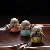 6 Arten Sprechen Hören Sehen Sie KEIN Böses uddha Mönch Statue Keramik Tee Haustier Regal Dekorationen