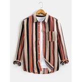 Cotton Mens Colorful Camicie casual a maniche lunghe con colletto bavero sul petto a righe