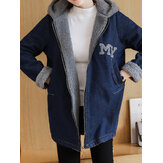 Casual Women Loose Fleece lynlås Denim Hooded Coats