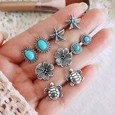Vintage Multi-Combination Women Earrings Set Turquoise Mount Flower Moon Crown Water Drop Ear Stud Kit