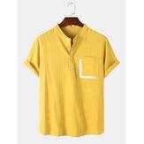 رجالي جيب خليط الصلبة هينلي الياقة قمصان كم قصير