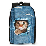 3D Cat Backpack Dog Pattern Denim School Book Bags Sacs de voyage