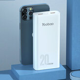 YOOBAO C20Q 22.5W 20000mAh Power Bank Alimentation avec 20W USB-C PD + 22.5W/18W QC3.0 USB-A Support AFC FCP SCP Charge Rapide Pour iPhone 12 Pro Max Pour Samsung Galaxy S21 Note S20 ultra Huawei Mate40 P50 OnePlus 9 Pro