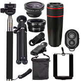 All in 1 Camera Lens Kit 8X_12X Telescope Fisheye Wide Angle Macro Telephoto Lens with Tripod Selfie Stick for Vlog Travel Outdoor