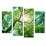 4 peças pinturas em tela de árvore verde impressão decorativa de parede imagens de arte sem moldura decorações de parede para escritório doméstico
