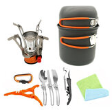 Portable Backpacking Outdoor Picnic Set Hiking Cookware Camping Pot Bowl Stove Set Burner
