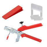Kit de sistema de nivelación de baldosas que incluye 1 pieza 1/8 Inch Alicates de empuje con 100 piezas de clips espaciadores niveladores de 1/2/3 mm y 100 piezas de cuñas reutilizables DIY Conjunto de baldosas herramientas