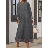 Women Printing Patchwork Round Neck Long Sleeve Maxi Dress With Pockets