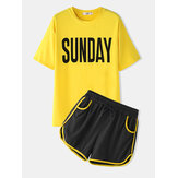 Women Sports Loungewear Letters Print Short Sleeve Comfy Pajamas
