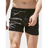 Herren Solid Color Silk Elastic Waist Home Lässige Shorts mit mittlerer Taille