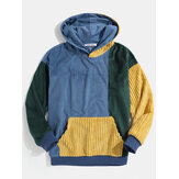 Nam giới Vintage Corduroy Color Block Stitching Kangaroo Pocket Hoodies