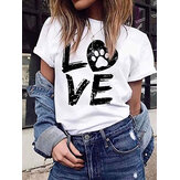LOVE Print Round Neck Short Sleeve Casual T-shirts For Women
