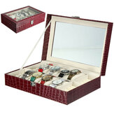 Brown 12 Slots Crocodile Pattern Watch Box with Pillow